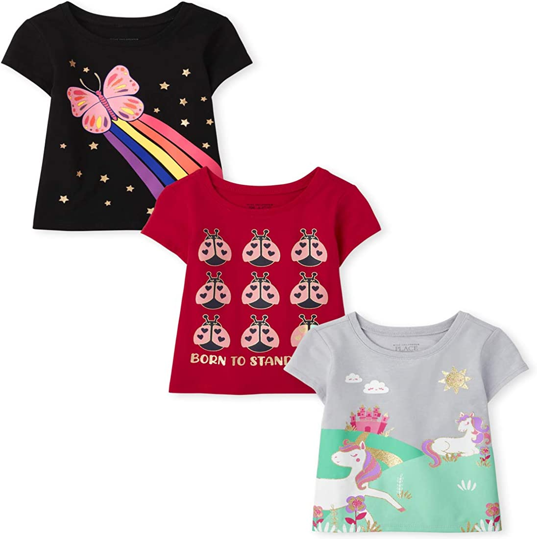 The Children's Place Baby Toddler Girl Short Sleeve Graphic T-Shirt 3-Pack