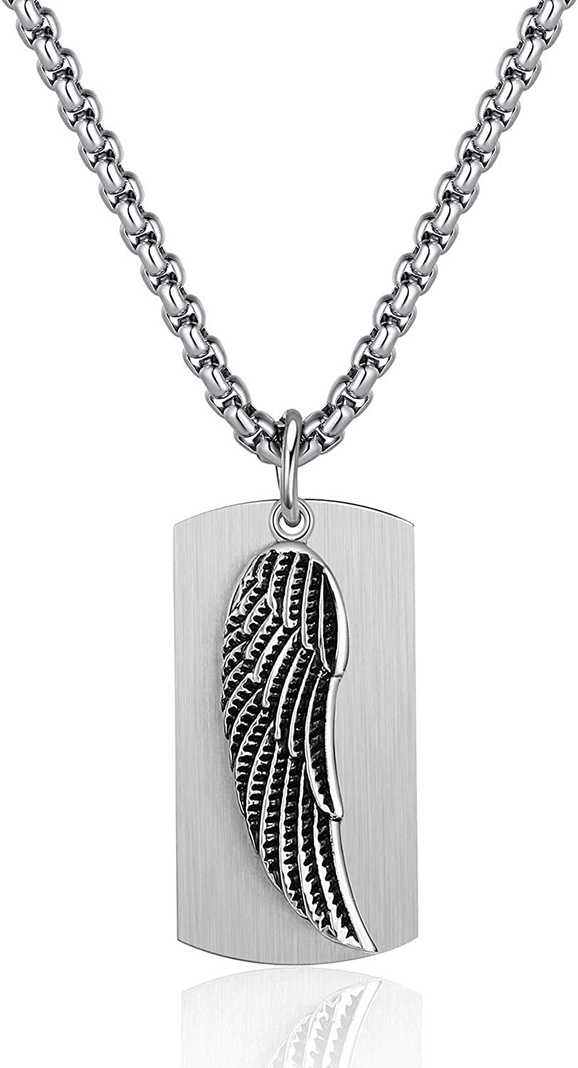P. BLAKE Stainless Steel Dog Tag Gothic Cross/Wing Necklace, 2 Tone Christian Pendant Jewelry, 24 Inches Rolo Chain