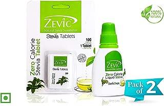 Combo : Stevia Sugar Free Liquid Each 250 Drops & Stevia Sugar Free 100 Tablets - Natural Sweetener Pack Of 5 By Zevic