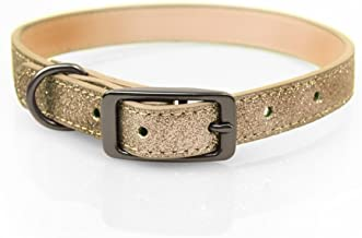 Bow & Arrow PU Leather Glitter Gold Dog Collar with Pewter Hardware, Dog Collar for Dogs