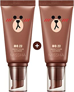 Missha M Perfect Cover BB Cream #23 [2PK] SPF 42 PA+++(50ml) (LINE FRIENDS Edition)-Lightweight, Multi-Function, High Coverage Makeup To Help Infuse Moisture For Firmer Looking Skin