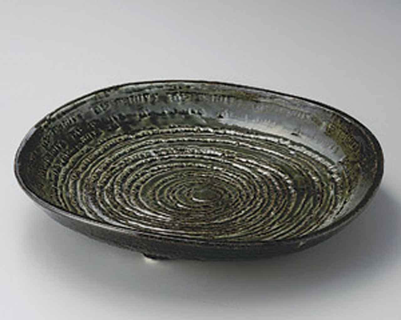 Oribe 16.1inch Set of 2 SUSHI Made Japa in PLATES Grey Cheap SALE Start New mail order porcelain