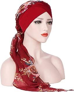 Crystal Women India Muslim Stretch Turban Printe Hat Cotton Chiffon Head Scarf Wrapgifts 6