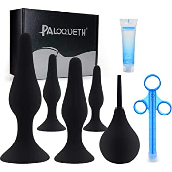 Butt Plug Training Kit for Beginners Experienced Users, PALOQUETH Anal Sex Toy Set with Suction Cup for Safe Hands Free Anal Play 4 Plugs 1 Lube Shooter 1 Bulb Enema 1 Lube 25g