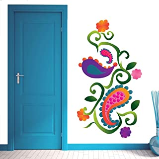 Zigimpession Wall Sticker Multicolor Paisley Floral Design PVC Vinyl Home Living Room Wall Art Decor Decal 19 X 36 Inches
