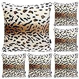 Hodeacc Paquete de 6 fundas de almohada de la serie con estampado de leopardo, funda de almohada para el hogar con diseo de animales de peluche suave,18 x 18 pulgadas (solo estuche)