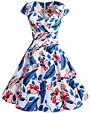 Bbonlinedress Vestido Corto Mujer Retro Años 50 Vintage Escote En Pico Royalblue Flower XL