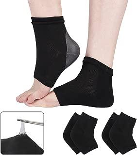 Codream 2 Pairs Heels Moisturizing Socks for Dry Cracked Heels Repair Treatment Vented Moisturizing Gel Heel Sleeves Open Toe Comfy Recovery Socks Day Night Foot Care Black