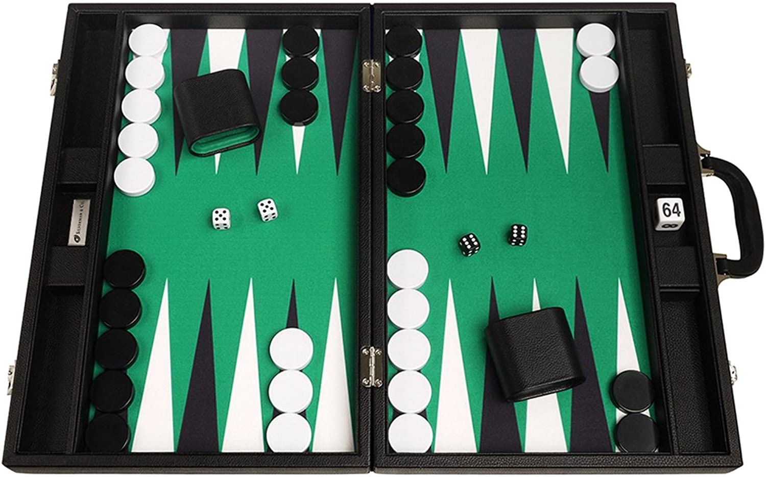 19-inch Premium Backgammon Set - Large Size - Black Board, Green Playing Surface, Black and White Points
