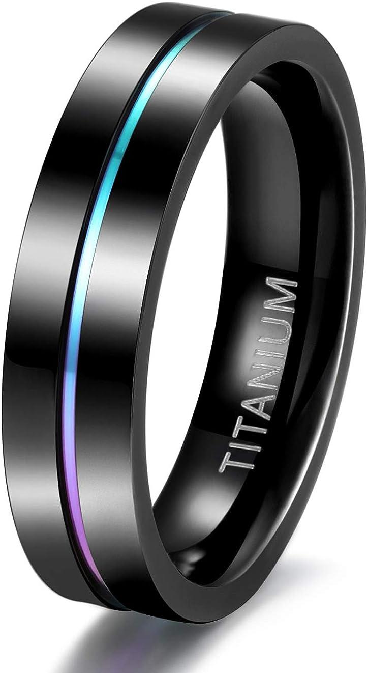 TIGRADE 5mm 7mm 9mm Elegant Rainbow Titanium free shipping Thin W Colorful Ring Groove