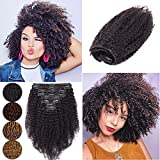 Afro Kinky Curly Clip In Human Hair Extensions Curly Clip Ins Remy Hair for African American Brazilian Virgin Hair Kinkys For Black Women Double Wefts 3B 3C 8Pcs 18 Clips 8' 95g #1B Natural Black
