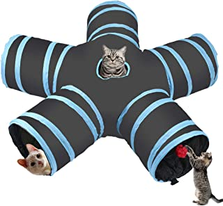 Cozy zone Cat Tunnel -5 way,Collapsible Pet Play Tunnel Tube Toy,a Soft Ball Toy for - Cat,Puppy, Kitty,Rabbit,ferret (Bla...