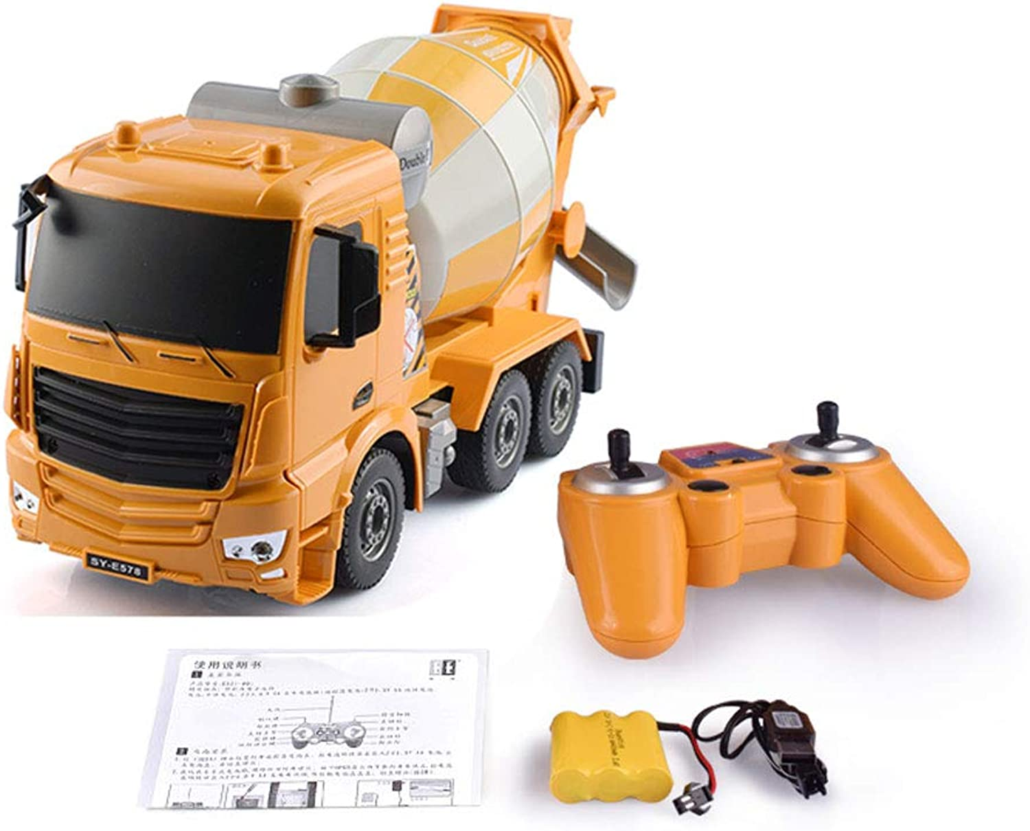 Mogicry Electric Remote Control Engineering Vehicle 2.4Ghz Friction Powered Cement Mixer Push And Go Construction Toy With Lights And Sounds Give The Boys Girls Gift For Kids 3+ (color   Yellow)