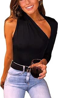 Women's Sexy One Shoulder Cutout Backless Tops Bodysuit Leotard