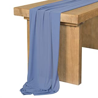 Ling's moment 10Ft Steel Blue Sheer Chiffon Table Runner for Rustic Boho Wedding Party Bridal Shower Decorations