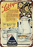JOHUA Letrero de metal con leche evaporada de Libby's para decoración de pared