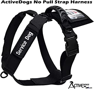 Activedogs No Pull Service Dog Strap Harness - Front Range w/Quick Release Buckle Loop Straps & Back Plate for Patches - Fully Adjustable Form Fitted