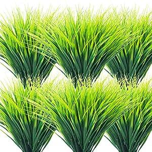 Grunyia 20 Bundles Artificial Outdoor Plants, Fake Wheat Grass Greenery Shrubs UV Resistant Faux Plastic Plants Garden Porch Window Box Décor (Grass)