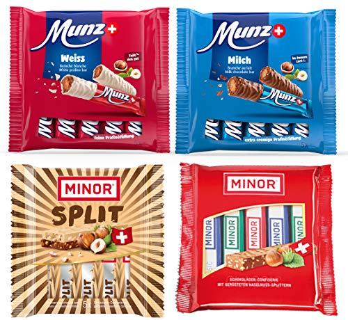 MINOR MUNZ Schokoladen Riegel Set | 20 Schokoriegel | 5 x Split, 5 x Classic, 5 x Milch, 5 x Weiße Schokolade | Prügeli, Branches, Praliné aus der Schweiz
