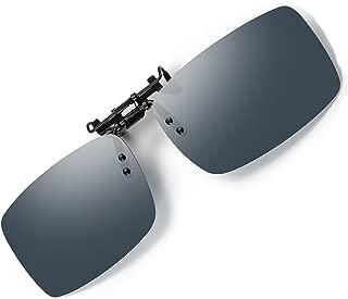 Polarized Clip On Flip Up Sunglasses Unisex Glasses Rimless Lens Anti Glare