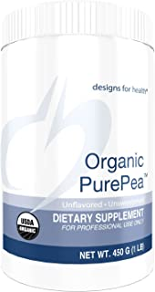 Designs for Health Organic PurePea Unflavored + Unsweetened - Pea Protein Powder with 22g Vegan Protein, Organic + Non-GMO (15 Servings / 450g)