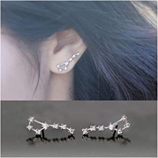 WithLoveSilver 925 Sterling Silver Oxidized Leaf Natural Hanging Cross Cartilage Ear Cuffs Earrings