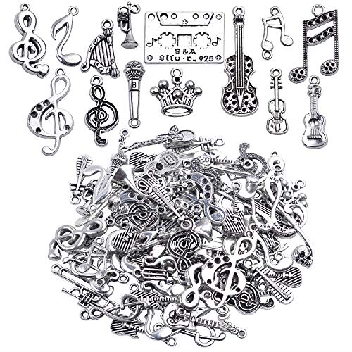 Hendevl Music Notes Charm,100 Grams Alloy Multistyle Musical Notation Symbol Charm Pendant Connector for DIY Jewelry Making Accessaries(About 70-90pcs)