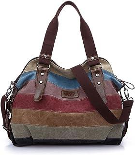 WAWJ Multi-Color-Striped Damen Handtasche / Umhängetasche Canvas Shopper Tasche Vintage Hobo Bags