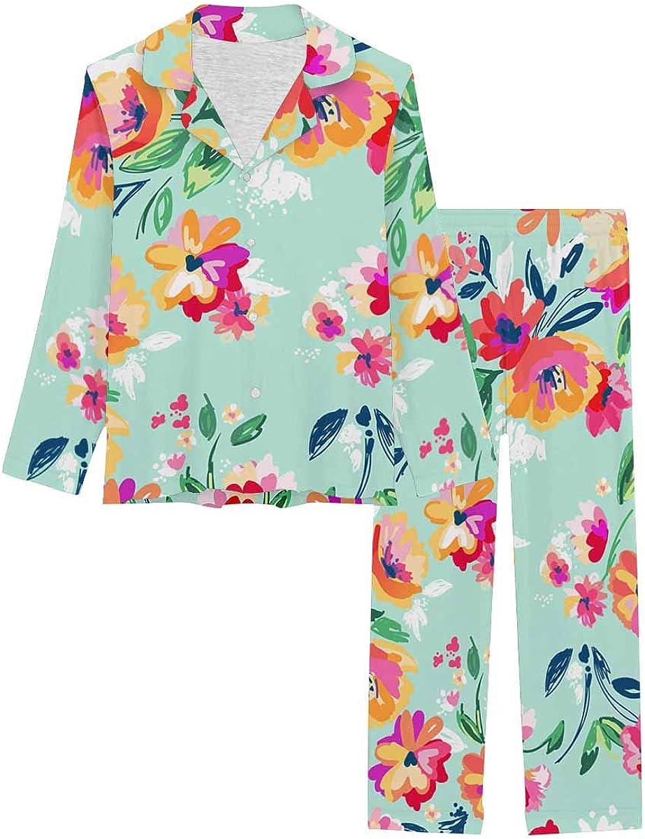 InterestPrint Soft Nightwear Loungewear with Long Pants Pajamas Set Painted Flowers Background