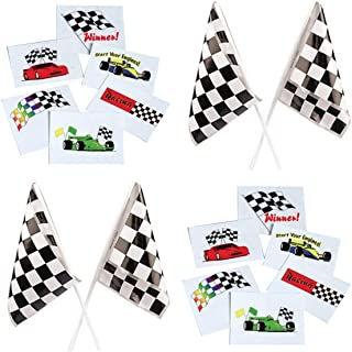 Happy Deals~ 144 Racing Tattoos and 36 Checkered Flags | Racing Party Favors and Toys Set|