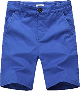 Boys Shorts - Flat Front Shorts with Adjustable Waist,Chino Shorts for Boys 5-14 Years,6 Colors to Choose
