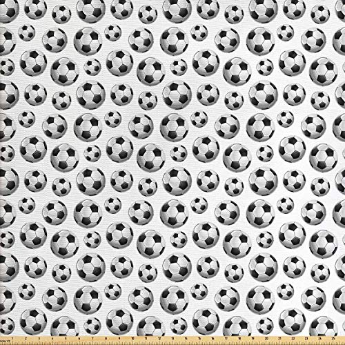 Lunarable Boy's Room Fabric by The Yard, Pattern with Vivid Graphic Soccer Balls Sports Icon Athletics Hobbies, Decorative Fabric for Upholstery and Home Accents, Charcoal Grey White