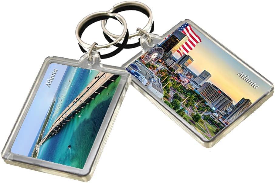 KR010 Atlanta City Keychain United States Travel Photo Keyring
