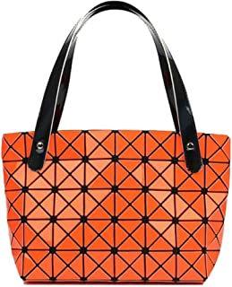 Pu handbag, British style shoulder bag, versatile female bag, large capacity travel bag, bright plaid bag, can accommodate mobile phones, pink and orange (Color : Orange, Size : One size)