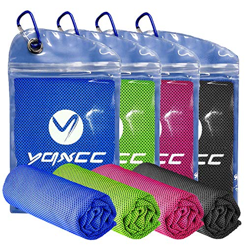"YQXCC Cooling Towel 4 Packs (47""x12"") Microfiber Towel Yoga Towel for Men or Women Ice Cold Towels for Yoga Gym Travel Camping Golf Football & Outdoor Sports (Dark Blue/Dark Gray/Rose Red/Green)"