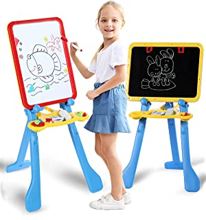STEAM Life Art Easel for Kids | 4 in 1 Magnetic Board, Chalkboard, Painting Easel, and Drawing White Board for Kids | Includes Magnetic Letters and Numbers