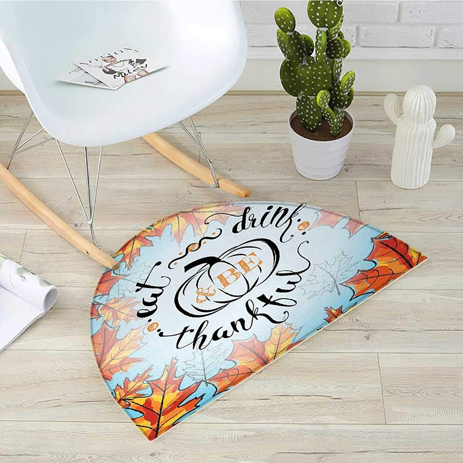Quote Semicircular CushionEat Drink and Be Thankful Quote for Thanksgiving with Fall Leaves Entry Door Mat H 39.3  xD 59  Sky bluee Dark orange and Black