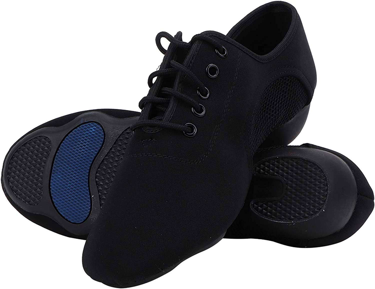 Soft Comfortable Latin Shoes,Ballroom Jazz Shoes Breathable Lace up Modern Black Dancing Shoes Fashion Dance Shoe Oxford Cloth Teacher Shoes for Women & Men One Pair (44)