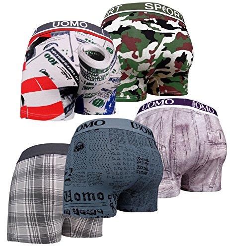 if he Heren Boxershorts Verschillende ontwerpen USA Camouflage Karo Jeans krant (5-delige voordeelverpakking)
