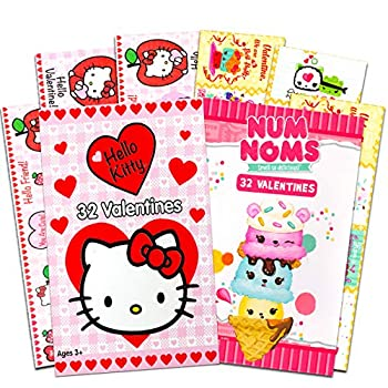 Valentines Day Cards for Girls Kids Classroom Bulk | 64 Valentines Exchange Cards for Teachers Kids | Hello Kitty Num Noms | 16 Designs | School Preschool Daycare