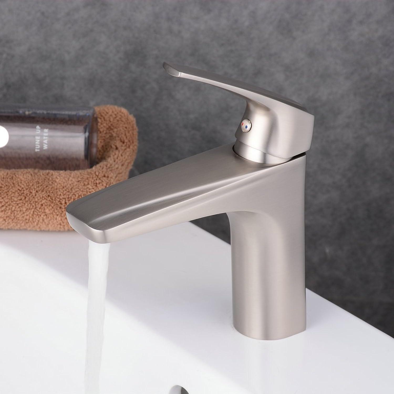 Beelee BL1051N Moderne Design Wasserhahn Bad Gebürsteter Nickel Waschbecken Armatur Einhebelmischer Waschtischarmatur Waschtisch Mischbatterie Waschbeckenarmatur
