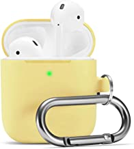 Camyse Airpods Case, Airpod Silicone Skin Cases Cover, Full Protective Durable Shockproof Drop Proof with Keychain Compatible with Apple Airpods 2 & 1 Charging Case,AirpodsAccesssories (Yellow)