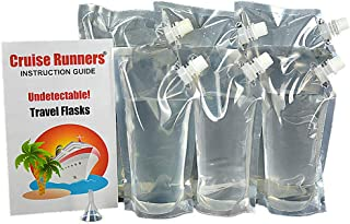 Cruise Runners - Clear Plastic Flask Kit Enjoy Rum Runners Sneak Alcohol Smuggle Liquor Booze 3 32oz.- 3 16oz.