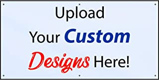 HALF PRICE BANNERS | Customize Now with Online Designer-Indoor/Outdoor Vinyl Banner 3X6 Foot-White|with Ball Bungees & Zip Ties|Easy Hang-Made in USA