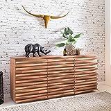 FineBuy Sideboard KANA 160 x 75 x 43 cm Massiv-Holz Akazie Natur Baumkante Anrichte | Landhaus-Stil Kommode mit Schubladen & Türen | Flur Schrank Standschrank