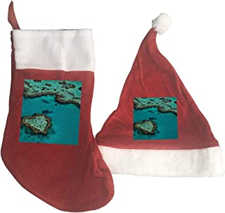 Mini Santa Hat Australia Great Barrier Reef Coral Christmas Stocking and Santa Hat Set Decoration Holiday Ornament Merry Christmas Decoration
