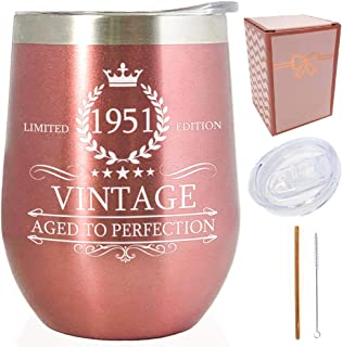 1951 69th Birthday Presents for Women |Vintage Aged to Perfection Rose Gold 12 oz Insulated Double Wall/Stainless Steel Tu...