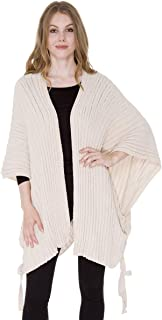 Women's Winter Warm Fashion Open Front Ruana Knit Vest Wide Solid Chenille Poncho Sweater Tied Side