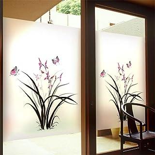 Window Privacy Film No Glue Static Cling Window Film Flower Plant Butterfly Pattern Decorative Frosted Glass Films Window ...