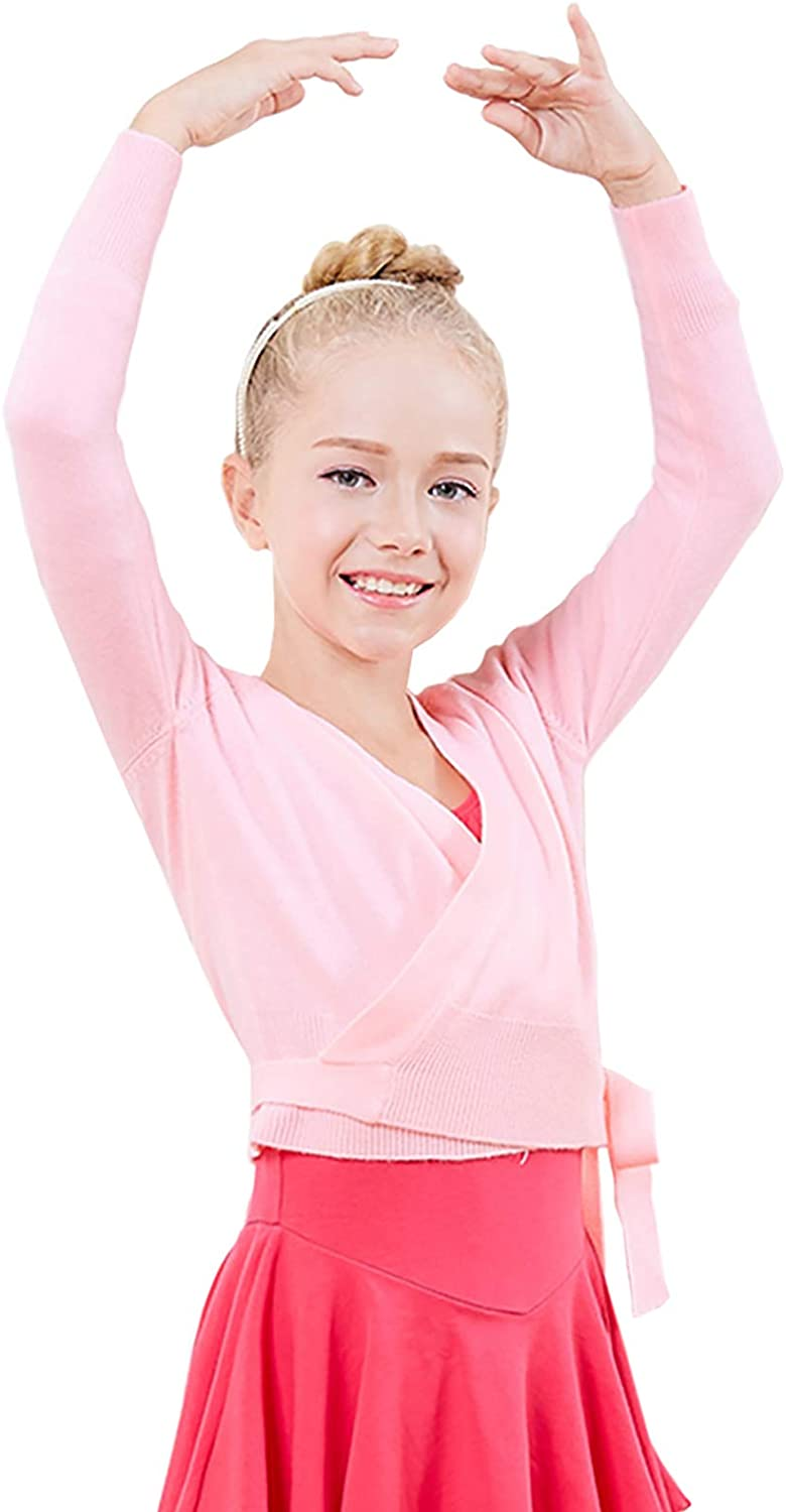 Happy Cherry Kids Long Sleeve Wrap Tops Ballet Dance Knitted Sweater Cardigan
